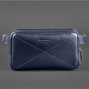 Сумка на пояс (crossbody) Everiot Bnote DropBag Maxi темно-синяя BN-BAG-20-navy-blue из натуральной кожи