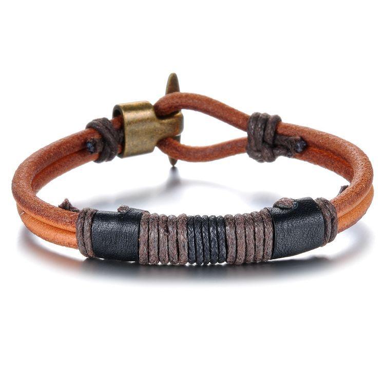 Купить Кожаный браслет Everiot SH-XP-0146 с оплеткой по цене 733 руб. - Интернет-магазин Cheros